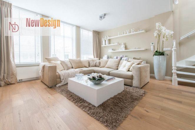 Дизайн гостиной в бежевых тонах - фото 13