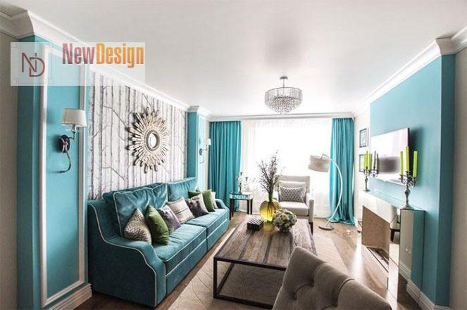 Дизайн гостиной в бирюзовых тонах - фото 16