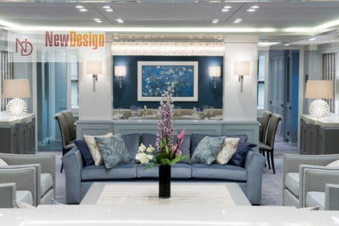 Дизайн гостиной в голубых тонах - фото 14
