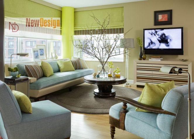 Дизайн гостиной в оливковых тонах - фото 16