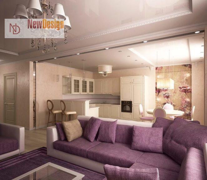 Дизайн гостиной в сиреневых тонах - фото 18