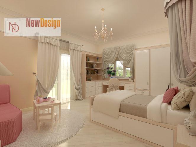 Дизайн детской комнаты в бежевых тонах - фото 15