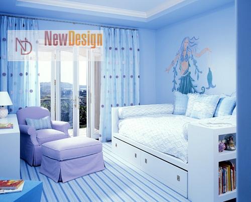 Дизайн детской комнаты в голубых тонах - фото 16