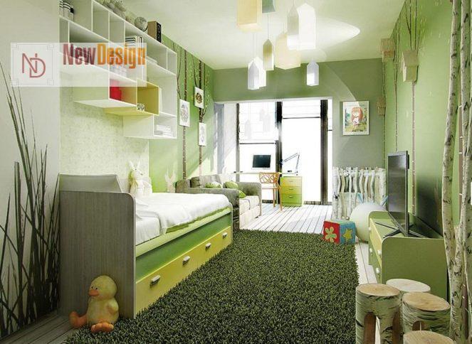 Дизайн детской комнаты в оливковых тонах - фото 18