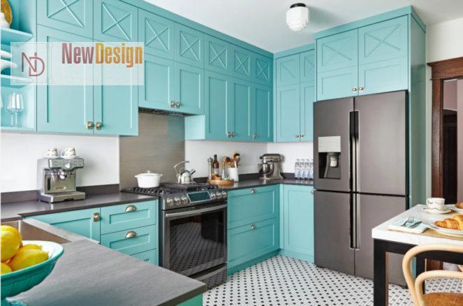 Дизайн кухни бирюзового цвета - фото 13