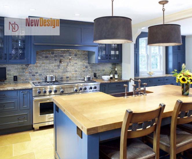 Дизайн кухни голубого цвета - фото 11