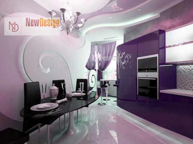 Дизайн кухни сиреневого цвета - фото 15