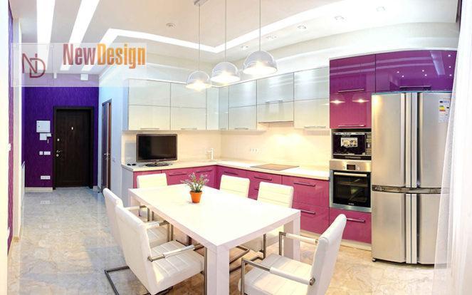 Дизайн сиреневый кухни - фото 14
