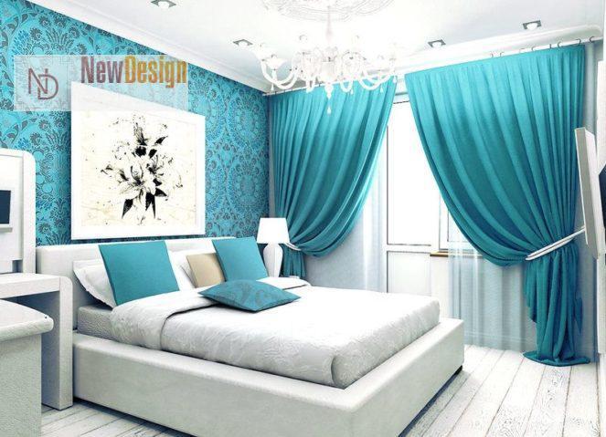 Дизайн спальни в бирюзовых тонах - фото 14