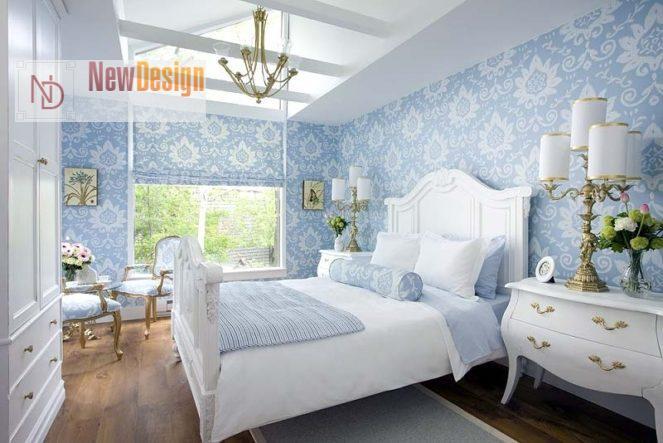 Дизайн спальни в голубых тонах - фото 12