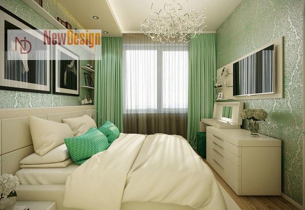 Интерьер спальни в оливковом цвете - фото 15