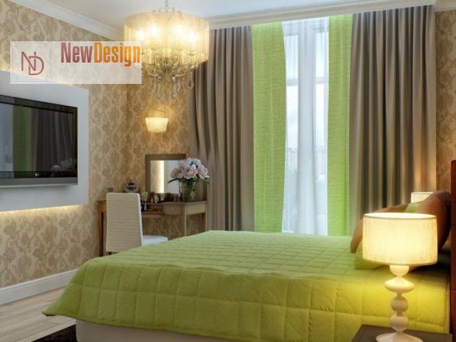 Дизайн спальни в оливковых тонах - фото 14