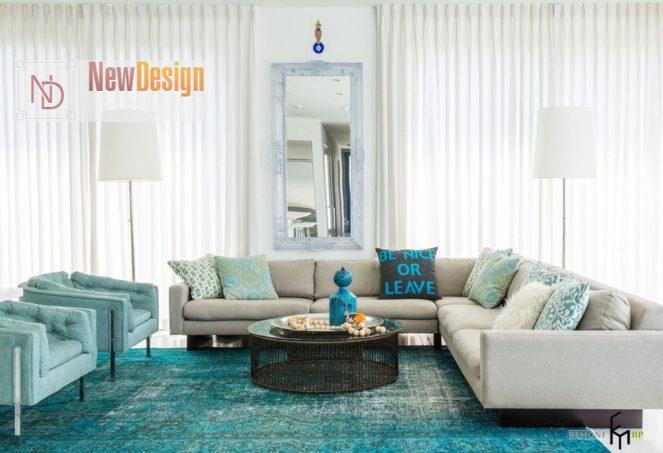 Интерьер гостиной в бирюзовом цвете - фото 17