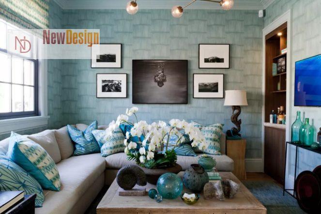 Интерьер гостиной в голубом цвете - фото 15