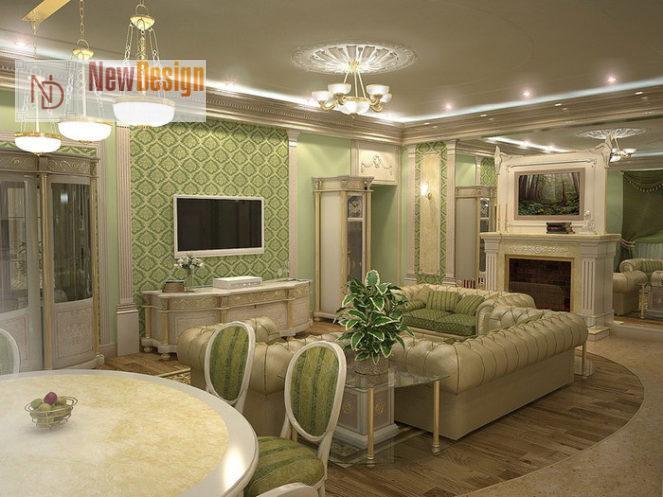 Интерьер гостиной в оливковом цвете - фото 17