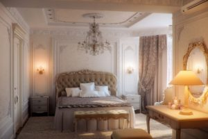 Интерьер спальни в бежевом цвете - фото 12
