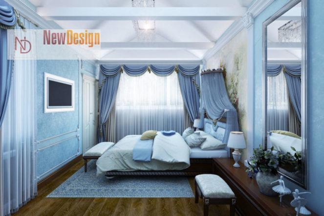 Интерьер спальни в бирюзовом цвете - фото 15
