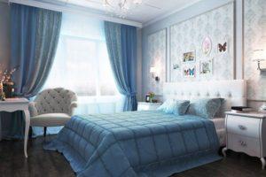Интерьер спальни в голубом цвете - фото 13