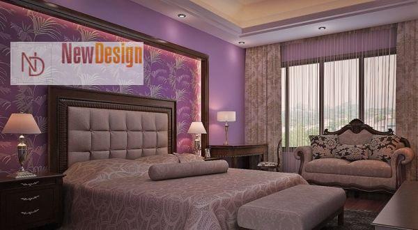 Интерьер спальни в сиреневом цвете - фото 17