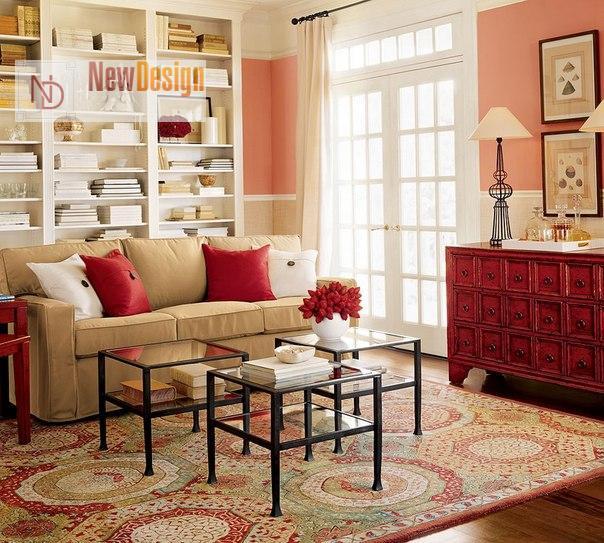 Сочетание бежевого и красного цветов в интерьере - фото 7