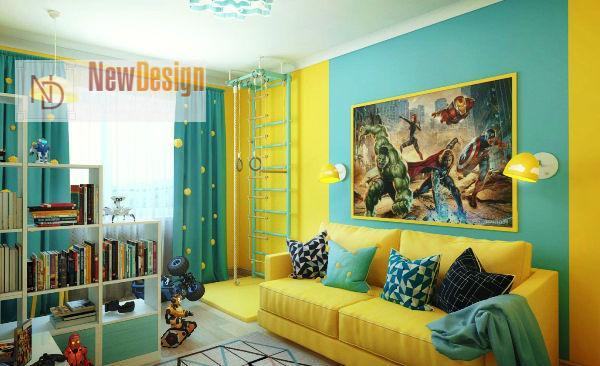 Сочетание бирюзового и желтого цветов в интерьере - фото 10