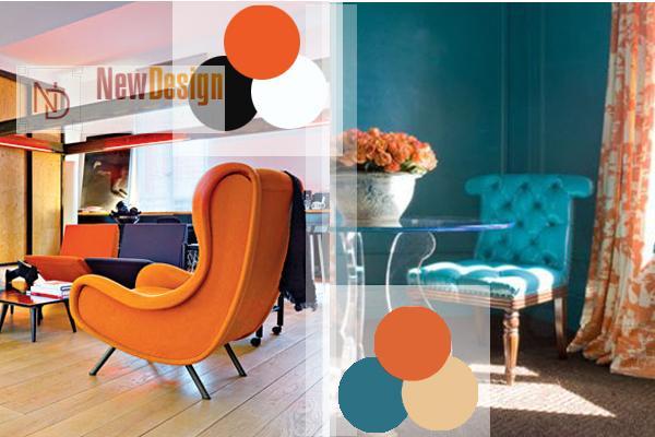 Сочетание бирюзового и оранжевого цветов в интерьере - фото 3