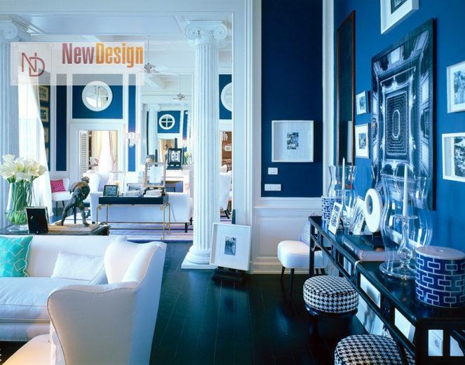 Сочетание голубого и белого цветов в интерьере - фото 8