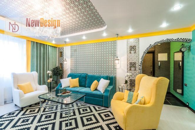 Сочетание голубого и желтого цветов в интерьере - фото 9
