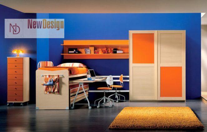 Сочетание голубого и оранжевого цветов в интерьере - фото 6