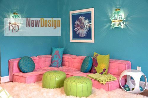 Сочетание голубого и розового цветов в интерьере - фото 7