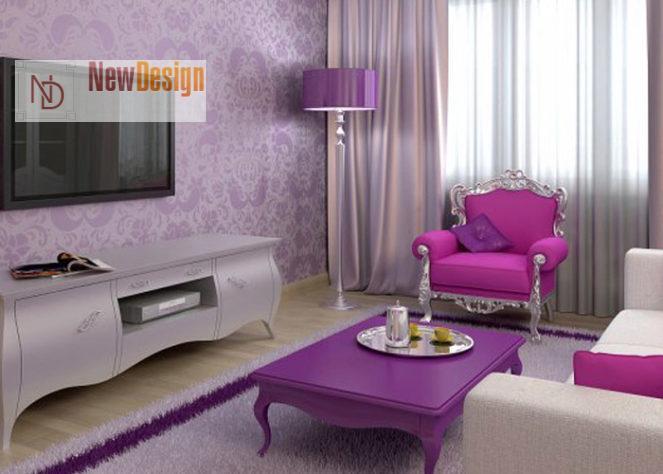 Сочетание сиреневого и фиолетового цветов в интерьере - фото 3