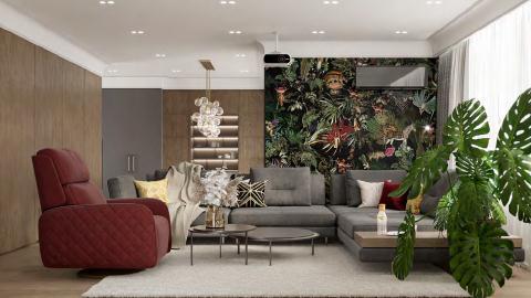Дизайн гостиной с фотообоями 3д