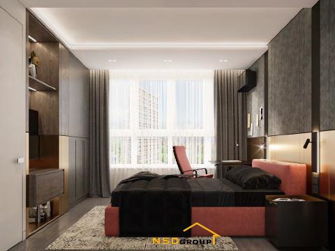 современный дизайн спальни в квартирес рабочим местом 2021 фото