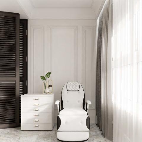 Современный дизайн спальни с креслом 2021 фото