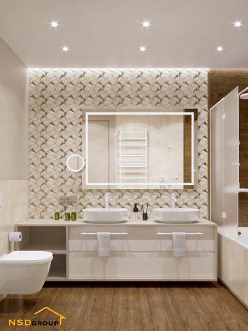 стильный дизайн ванной комнаты с двумя умывальниками 2021 фото