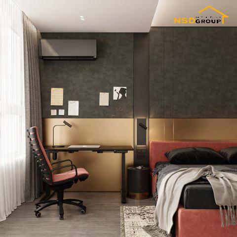 дизайн спальни с рабочим местом 2021 фото